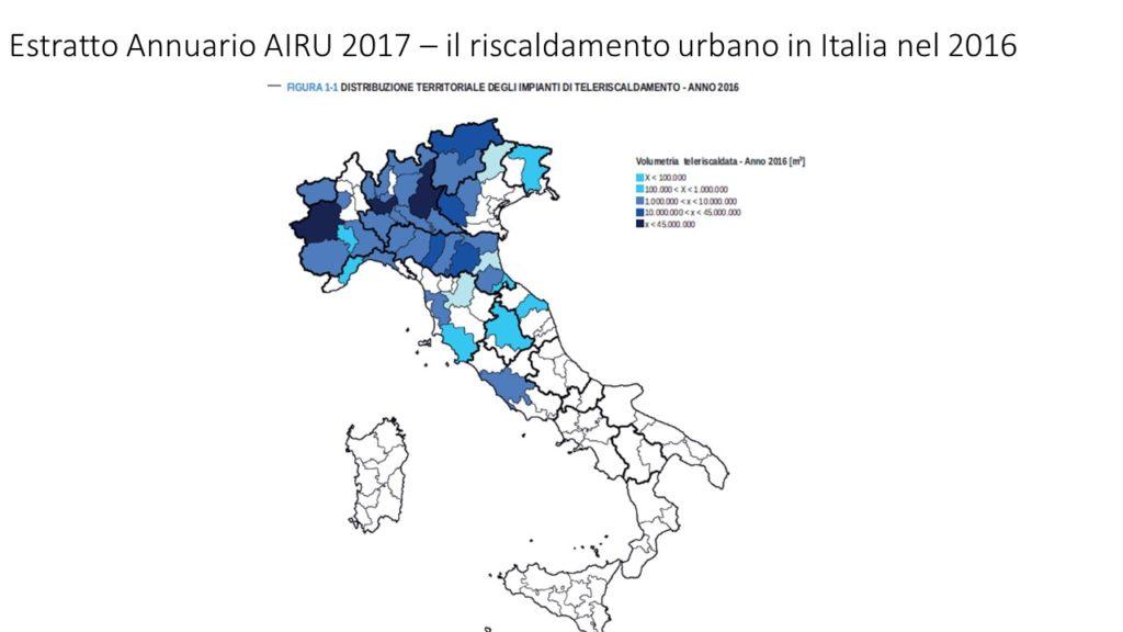 il teleriscaldamento in Italia nel 2016 - distribuzione territoriale reti teleriscaldamento censite dall'annuario AIRU 2017