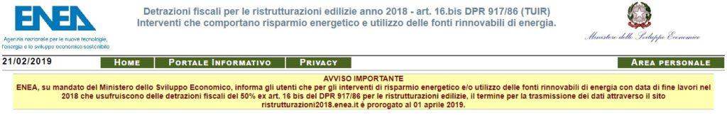 Comunicazione ENEA per ristrutturazioni - proroga al 1 aprile 2019